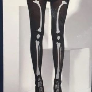 Fever Opaque Black Halloween Skeleton Print Tights